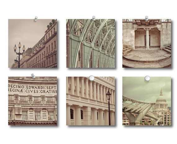 London Photo Collection - The Rhythm of London Set of Fine Art Photographs in cream and green