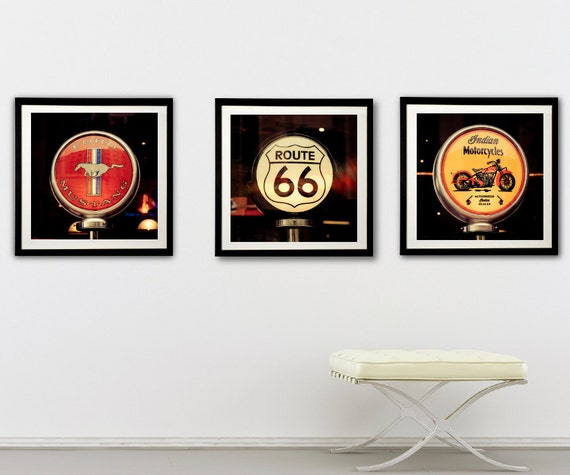 Route 66 Photography - American retro signs, classic cars, red, yellow, On the Road Again