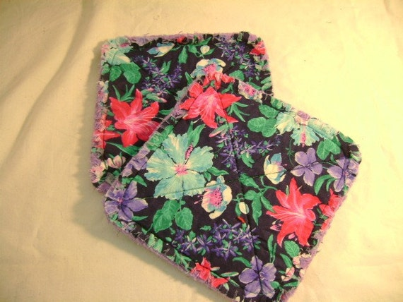 Floral Print Purple Edging - Pair of Quilted Fabric Pot Holders