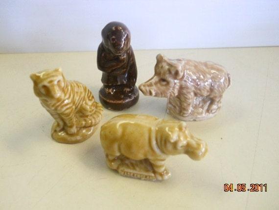 Wade Whimsie Figurines - Tiger, Circus Monkey, Wart Hog, Hippo