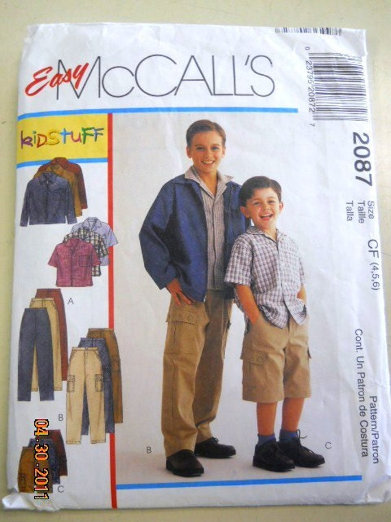 McCall's 2087 Boys' Jacket, Shirt, Pants and Shorts  Size 4, 5, 6