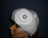 Headband Head Wrap Ear Warmer in White Winter Accessories Hand Knitted