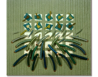 Fiber Art, Handwoven Soft Green Sculpture Titled Earth Series No. 10 FreeShip USA