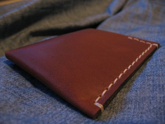 Slim Cash and Card Holder Wallet - Hand Stitched - Oil Tanned Leather - Finished Edges