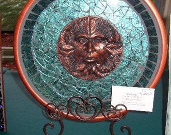 Stained Glass Green Man Mosaic Plaque Platter