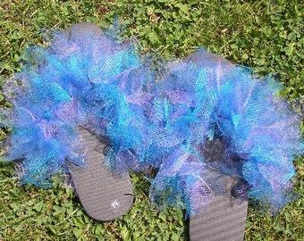 Lavender Blue Ladies Cute Peacock Flip Flops