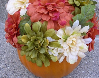 Fall Holiday Pumpkin with Orange, Green, Ivory Flowers