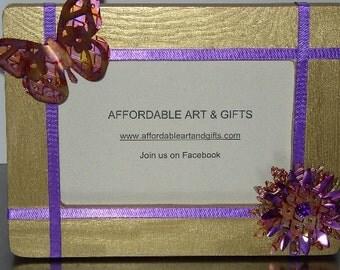 Gold & Purple Butterfly Flower Frame Pretty Reminder Board