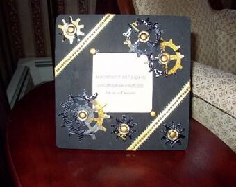 Industrial Steampunk Black & Gold Frame Reminder Board