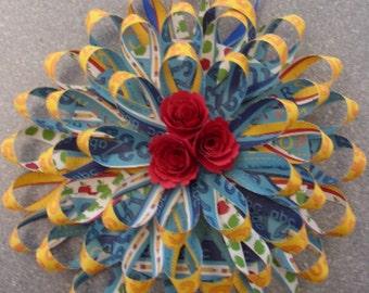 "1950's Paper Loop Hanging Wreath ""Flowers for My Teacher"""
