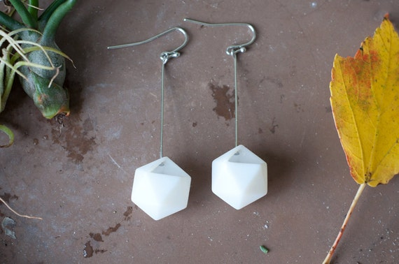 Icosahedron Earrings in White: A Wearable Planter