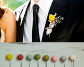 Horton Any Color Ball Wedding Boutonniere 10pack