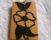 Sailor Jerry Style Flower Decoupage Wood Pendant Handmade