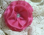 Hair Clip-Pink with White Stitcihng Ribbon Blossom