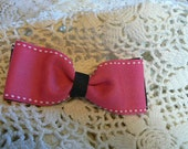 Hair Clip-Pink and Black Bow