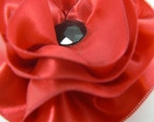 Hair Clip- Red and Black Ribbon Blossom