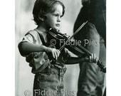 FIDDLE BOY | Appalachian Child Playing Violin | Vintage Black and White Film Photograph 4 x 6 Photo Reprint