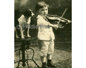 Vintage Photo   Child Playing VIOLIN with Pet Dog   Black and White 4 x 6 Photo Reprint
