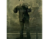 Tintype Photo | BOY Playing VIOLIN | Music Stand is Photographers Headrest!