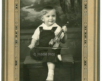 Vintage Photo in Art Deco Folio | BOY posed with Antique Violin | Black and White Photography c1930s