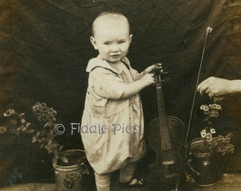 Antique Photograph | Musical BABY with VIOLIN | Vintage Photo 1910s - 1920s