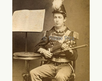 CDV Carte de Visite Photo | MILITARY Band | Musician Violinist Marching Band | Social History Documentary Photography
