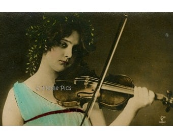 Vintage Hand Tinted Photo | Girl Playing Violin | Antique Photography