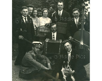 Antique Photograph | MUSICIANS w DOG and Bird Cage | Violin, Accordion, Bass, Military Uniform