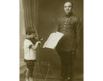 Child Playing Violin | Antique Photograph | Military Uniform Music Teacher Father | Botosani, Romania