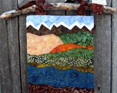 """Fabric Applique Wall Hanging - Fall Mountains 9"""" x 12"""""""