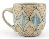 Tea Cup - Ceramic Mug - Espresso Mug with Dark Green, Turquoise and Orange Pattern