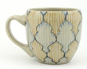 Teacup - Ceramic Mug - Cup with gray, yellow and light blue pattern