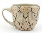 Teacup - Ceramic Mug - Cup with blue, salmon and orange pattern