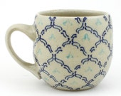 Teacup - Ceramic Mug - Cup with navy blue and aqua pattern