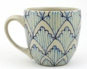 Teacup - Ceramic Mug - Cup with bright blue and turquoise pattern
