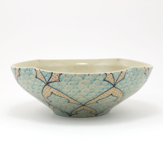 Ceramic Bowl with Blue and Salmon Pattern