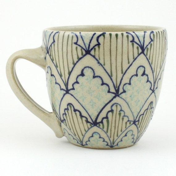 Teacup - Ceramic Mug - Cup with navy, dark green and light blue pattern