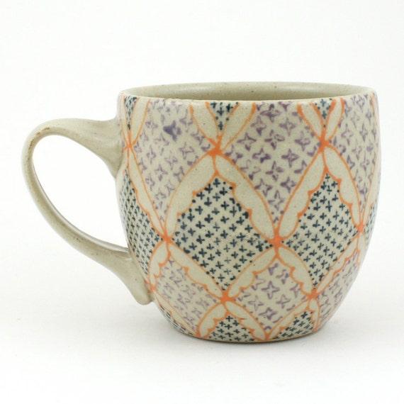 Teacup - Ceramic Mug - Cup with orange, navy and purple pattern