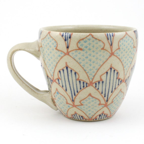 Teacup - Ceramic Mug - Cup with salmon, aqua and bright blue pattern