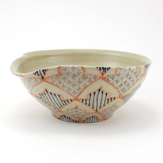 Reserved for Rachel - Pouring Bowl - Mixing Bowl wtih Orange, Purple and Navy Pattern