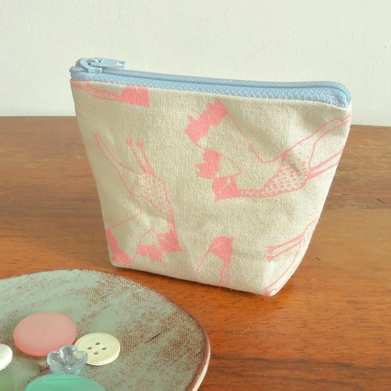 SALE Bird print small pale pink hand screen printed canvas purse