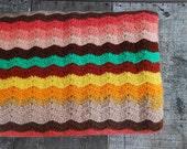 Vintage Colorful Crocheted Afghan Blanket