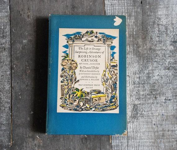 Vintage 1930 Adventures of Robinson Crusoe / Illustrated Book by Daniel Defoe