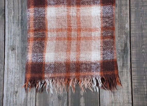 Vintage Mohair & Wool Plaid Hudson Bay Throw / Blanket