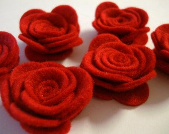 Set of 20 pcs handmade felt rose flower - red (RO)