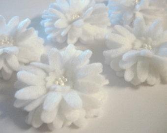 Set of 5pcs handmade felt Daisy - white (DA)