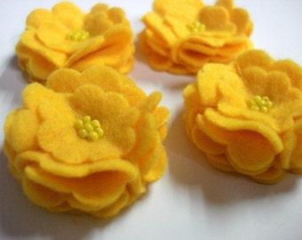 Set of 6pcs handmade felt flower - yellow (SCF)