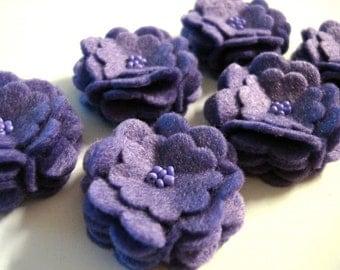 Set of 6pcs handmade felt flower - purple (SCF)