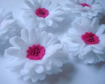Set of 5pcs handmade felt Daisy - white/hotpink (DA)