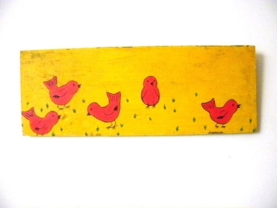 Primitive Painting Red Birds on Wood Wall Art